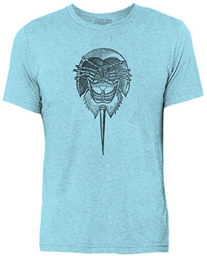 (Austin Ink Apparel Horseshoe King Crab Quality Triblend Short Sleeve Mens T Shirt (Aqua, L))