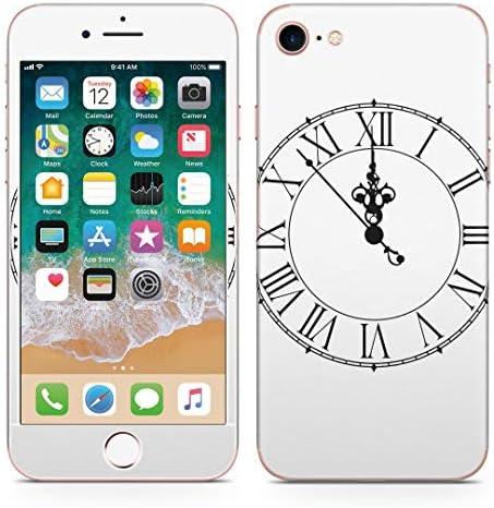 igsticker iPhone SE 2020 iPhone8 iPhone7 専用 スキンシール 全面スキンシール フル 背面 側面 正面 液晶 ステッカー 保護シール 009470 時計 白 黒 シンプル