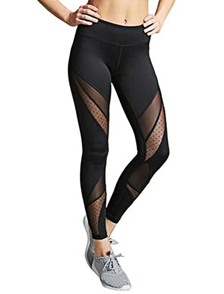 20cf38131d65b SEASUM Women's Mesh Workout Leggings High Waist Yoga Pants Causual Sports  Gym Running with Sleek Contrast