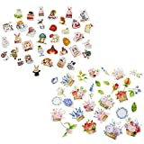 Diary Stickers Elisona 2 Packs Flower Animal Styles Cute Decorative Diary Label Stickers Set for DIY Album Scrapbooking Craft Journal Phone Home Wall Decoration