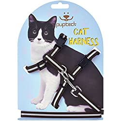 PUPTECK Reflective Adjustable Cat Harness Nylon Strap Collar with Leash Black