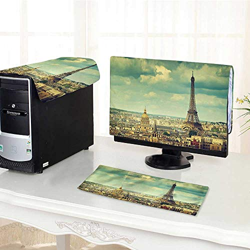 Computer Monitor Dust Cover 3 Pieces Paris France Decor Collection Europe Famous Church and Cityscape Aerial View Print Accesso Antistatic, Water Resistant ()