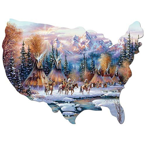 Bits and Pieces - 750 Piece Shaped Puzzle - Home of The Brave, Native American - by Artist Kirk Randle - 750 pc - Home American Native