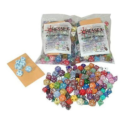 """2 (Two) """"Pound of Dice"""" Assorted Dice By Chessex: Toys & Games"""