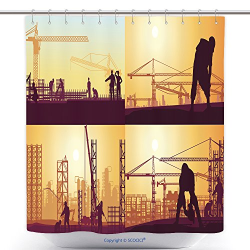 Fun Shower Curtains Workers Work On Various Construction Sites 626606381 Polyester Bathroom Shower Curtain Set With Hooks (Construction Worker Costume Images)