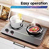Cusimax Hot Plate Electric Double Burner Countertop Cast Iron Heating Plate, 1800W Indoor& Outdoor Portable Stove, Compatible w/All Cookware, Stainless Steel Surface Easy to Clean - Upgraded Version
