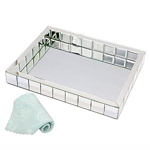 "meetart Rectangle Organizer 11"" x 14"" Decorative Silver Mosaic Mirror Tray Vanity Tray Serving Tray Jewelry Makeup Tray"