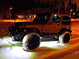 xlpace 4pcs Offroad Car LED Rock Under Body Light 4X4WD for JEEP Wrangler Truck ATV SUV Vehicle Boat Interior Whit (White)