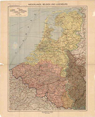 Historic Map | Benelux countries 1924 | Niederlande, Belgien und Luxemburg, Flemmings Generalkarte Nr. 20 | Antique Vintage Reproduction 24in x 30in