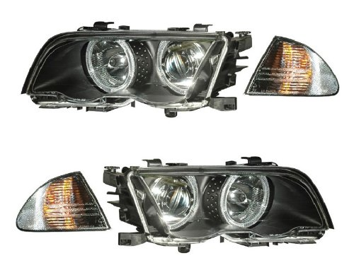 BMW 3 SERIES E46 98-01 4 DR PROJECTOR HEADLIGHT. W/ C. L HALO BLACK AMBER NEW