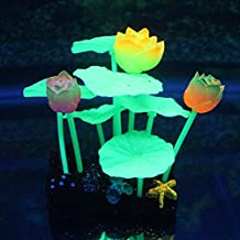 uxcell® Green Glowing Effect Artificial Lotus Flowers Leaves Stone for Aquarium Ornament