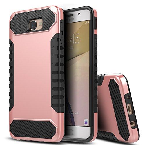 Shockproof Hybrid Case for Samsung Galaxy J5 (Black/Rose Gold) - 9