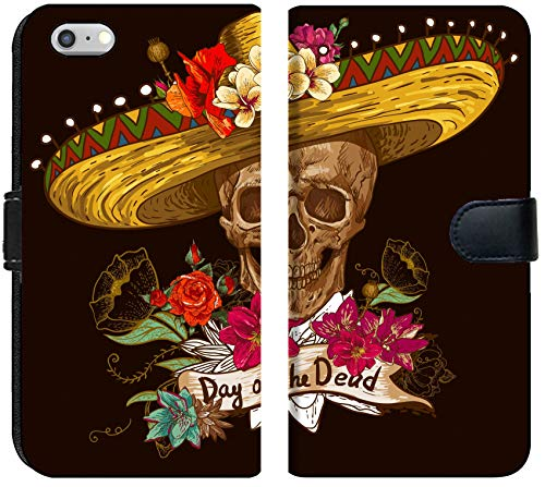Liili iPhone 6 Plus and iPhone 6S Plus Flip Micro Fabric Wallet Case Image ID: 24892450 Skull in Sombrero with Flowers Day of The Dead ()