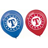 """Sports and Tailgating MLB Party Texas Rangers Printed Latex Balloons Decoration, Blue and Red, 12"""", Pack of 6"""