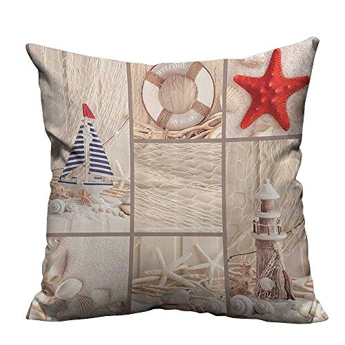 YouXianHome Throw Pillow Cover for Sofa Sail Boat Lifebuoy Starfish Sand Shell Sea Collage Design Tan Textile Crafts (Double-Sided Printing) 26x26 inch