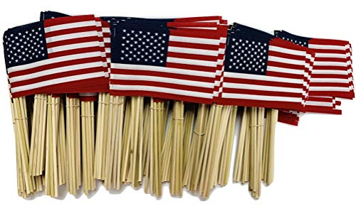 WindStrong® 4x6 Inch US American Hand Held Stick Flags No Tip on 10 Inch Dowel for Schools and Business Made in The USA - 500 Classroom Tips