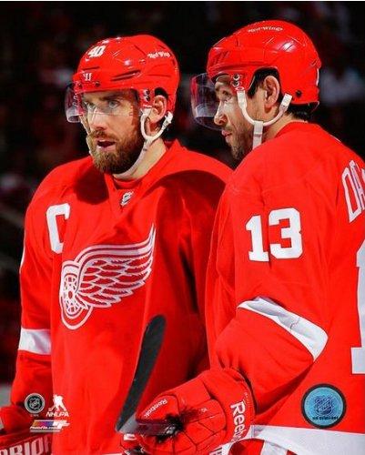 NHL Henrik Zetterberg & Pavel Datsyuk Detroit Red Wings 2013 Action Photo - Wings Detroit Photograph Red
