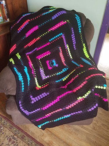 Hand Crocheted Heirloom Quality Neon and Black Afghan, Throw - Heirloom Crocheted