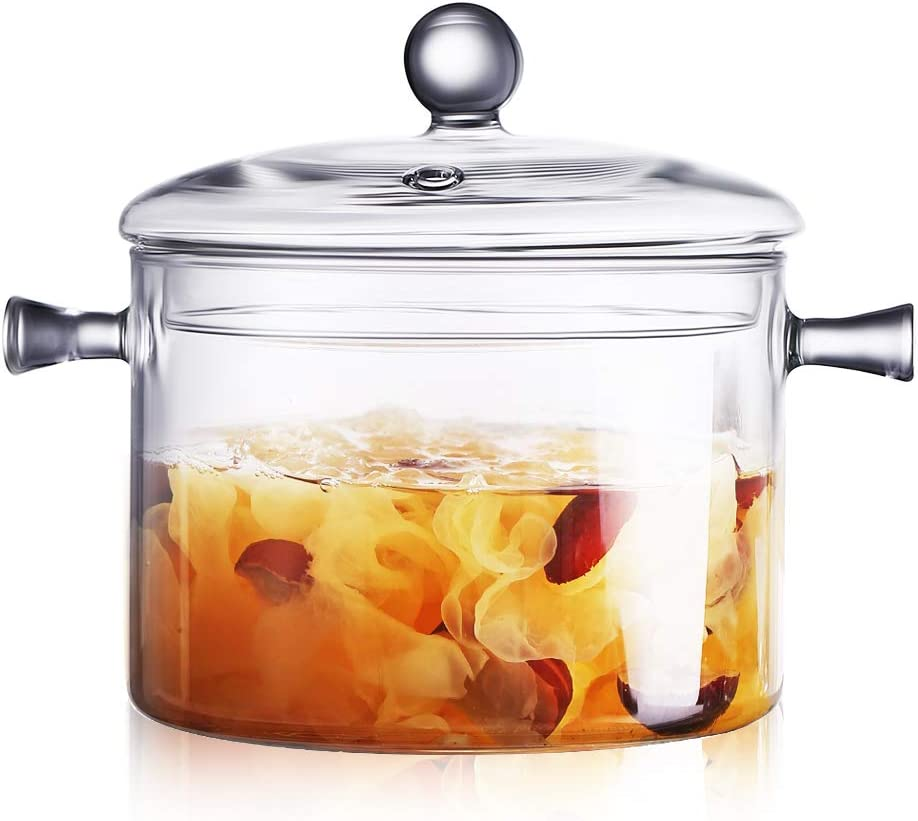 Glass Saucepan 2.0 Liter - Heat Resistant Glass Cooking Pot with Lid Sauce Pan for Soup, Pasta & Baby Food (2000ml/68oz)