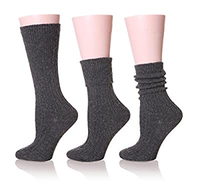 EBMORE Women's Multiple Cable Knit Warm Soft Wool Winter Boot Socks- 3 Pack