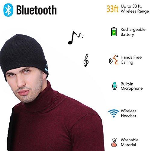Cupidove Soft Warm Bluetooth Beanie Smart Winter Knit Hat V4.1 Wireless Musical Headphones Earphones 2 Speakers Beanies Hats Cap Unique Christmas Gifts for Men Women Teen Young Boys Girls (Black)