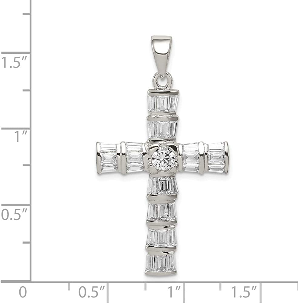 925 Sterling Silver Cubic Zirconia Cz Cross Religious Pendant Charm Necklace Latin Fine Jewelry Gifts For Women For Her
