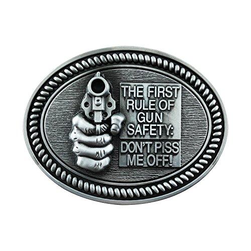 (QUKE Adult Men's Gun Rights Safety Revolver Belt Buckle 3D Grey Tone)