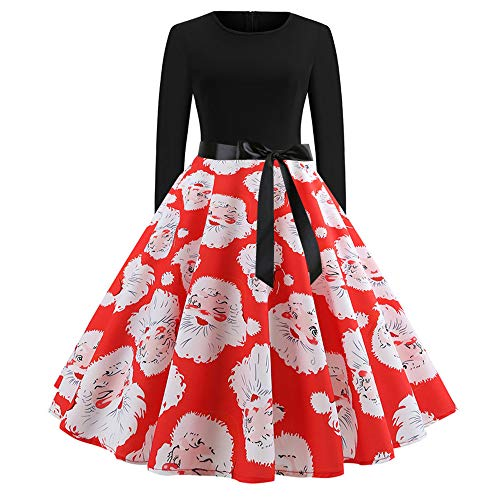 - Women's Vintage Print Long Sleeve Christmas Evening Party Swing Dress