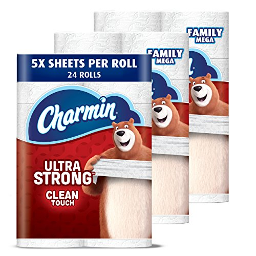 Charmin Ultra Strong Clean Touch Toilet Paper, Family Mega Roll, 24 Count