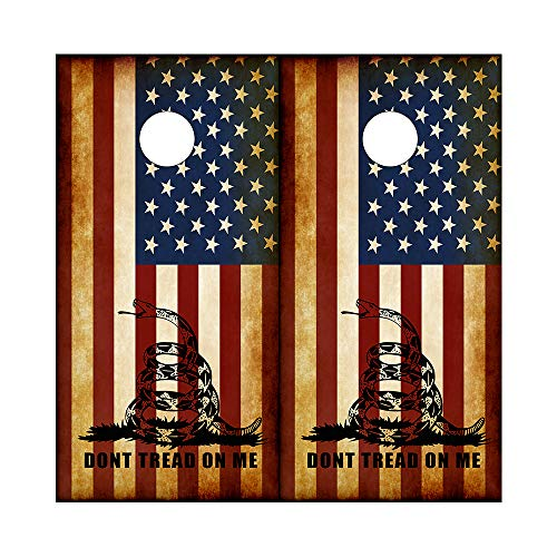 Decals N Designs Rustic Dont Tread on Me American Flag Gadsden DTOM Laminated Cornhole Board Wraps ~ Set of 2