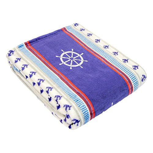 Cozy Fleece Plush Throw Blanket, Nautical