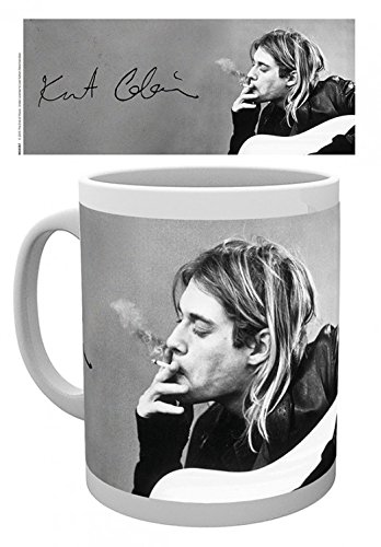 1art1 Set: Kurt Cobain, Smoking Photo Coffee Mug (4x3 inches) and 1x Surprise Sticker from 1art1