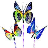 Yaoqiaoji Solar Garden Lights, Solar Stake Light Multi Color Changing Lights, Fiber Optic Butterfly Solar Light LED, Yard Decoration Lights Outdoor with a Purple LED Light Stake, 3 Pack (Butterfly)