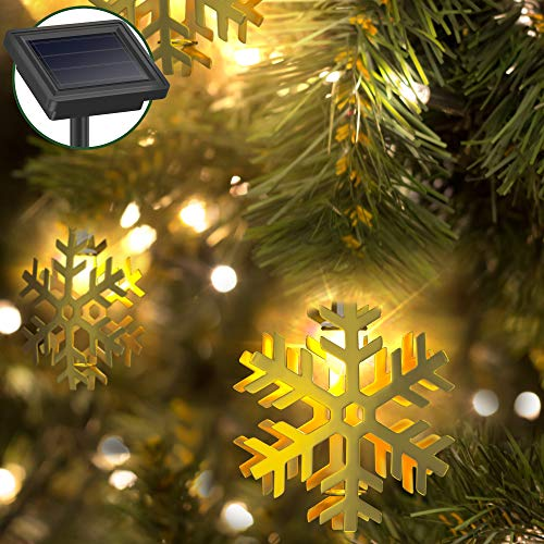 Holiday Decorative String Lights by Gideon 20 LED Solar Powered Hollow Metal Snow-Flake Fairy Lights for the Holidays and Christmas Decorations Great for House Parties - Indoor and Outdoor Decorations