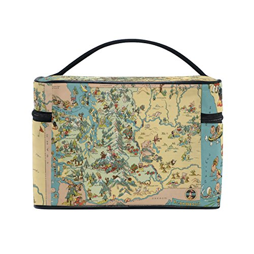 Vintage 1935 Washington State Map Portable Travel Makeup Cosmetic Bags Toiletry Organizer Multifunction Case