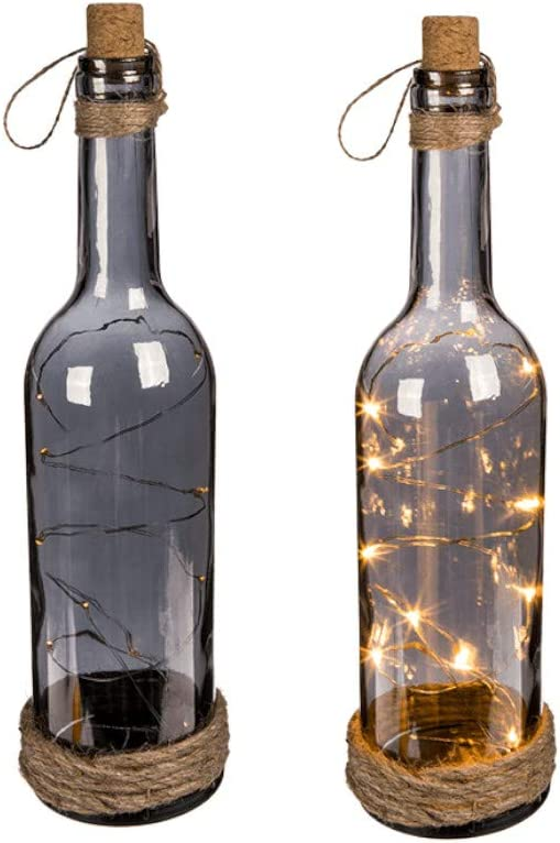 Botella de Cristal Ahumado con 10 Luces LED Blancas, tapón de Corcho & Cinta de Yute: Amazon.es: Hogar