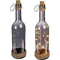 Botella de Cristal Ahumado con 10 Luces LED