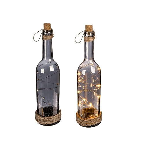 OOTB Botella de Cristal Ahumado con 10 Luces LED Blancas, tapón de Corcho & Cinta de Yute, 30x7cm: Amazon.es: Hogar