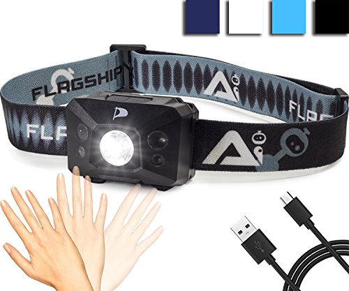 INSANE Sale! Flagship-X USB Rechargeable Hands Free Motion Sensing Waterproof LED Camping AI Headlamp Flashlight For Running - Black