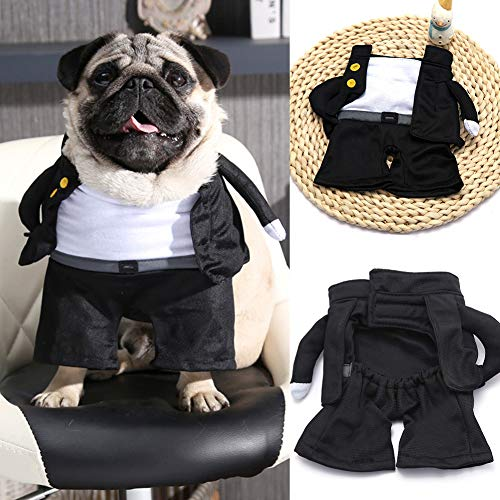 Godyluck Pet Dog cat Costume Role Play Halloween Waiter College Boys Standing up Funny Dress up -
