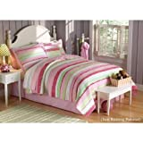 PEM America Annas Ruffle Piece Quilt Set in Pink and Green - Full