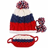 Women Winter Warm Ear Hat Ski Hat Earmuffs Thick Knitted Beanies with Mask
