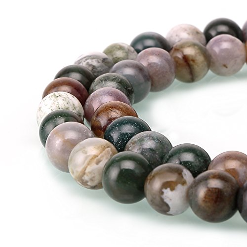 BRCbeads Indian Agate Gemstone Loose Beads Natural Round 4mm Crystal Energy Stone Healing Power for Jewelry Making (Semi Precious Agate)