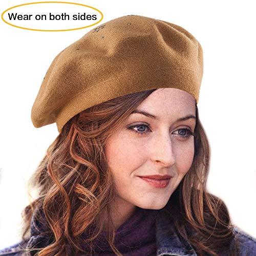 (Light Tan Beret for Women - Spring Autumn Knit Hat Classic Wool Berets 2 Layers (Light Tan (Floral Pattern)) )