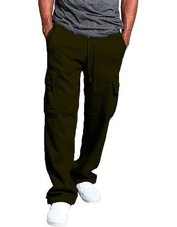 kunfang Pantalones Deportivos para Hombre Multibolsillos Color Puro  Pantalones de Softshell con Cinturón Tallas Grandes Pantalones 9e329fe642cd