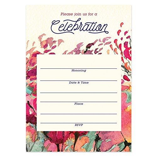 Rustic Floral Invitations with Envelopes (Pack of 25) Any Occasion Large 5x7