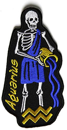 Aquarius Skull Zodiac Sign Patch - 2.2x4 inch. Embroidered Iron on Patch