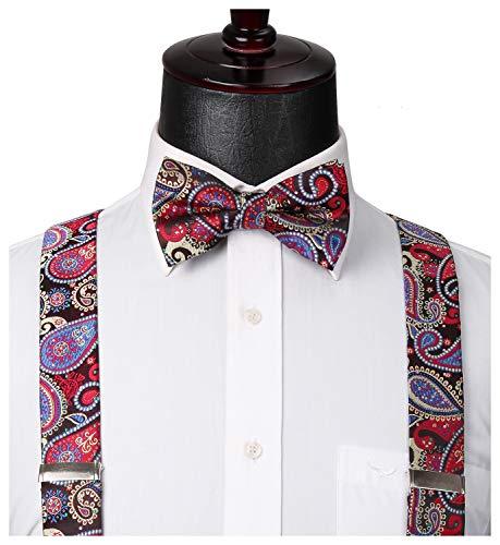 HISDERN Floral 6 Clips Suspenders & Bow Tie and Pocket Square Set Y Shape Adjustable Braces Red