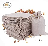 Fashionclubs Burlap Bags with Drawstring Gift Jute Bags Jewelry Pouches Sacks Bag for Wedding,Baby Shower,Art,Craft,Party,DIY and Christmas,7.1''x4.9'',20-Pack (20-pcs)