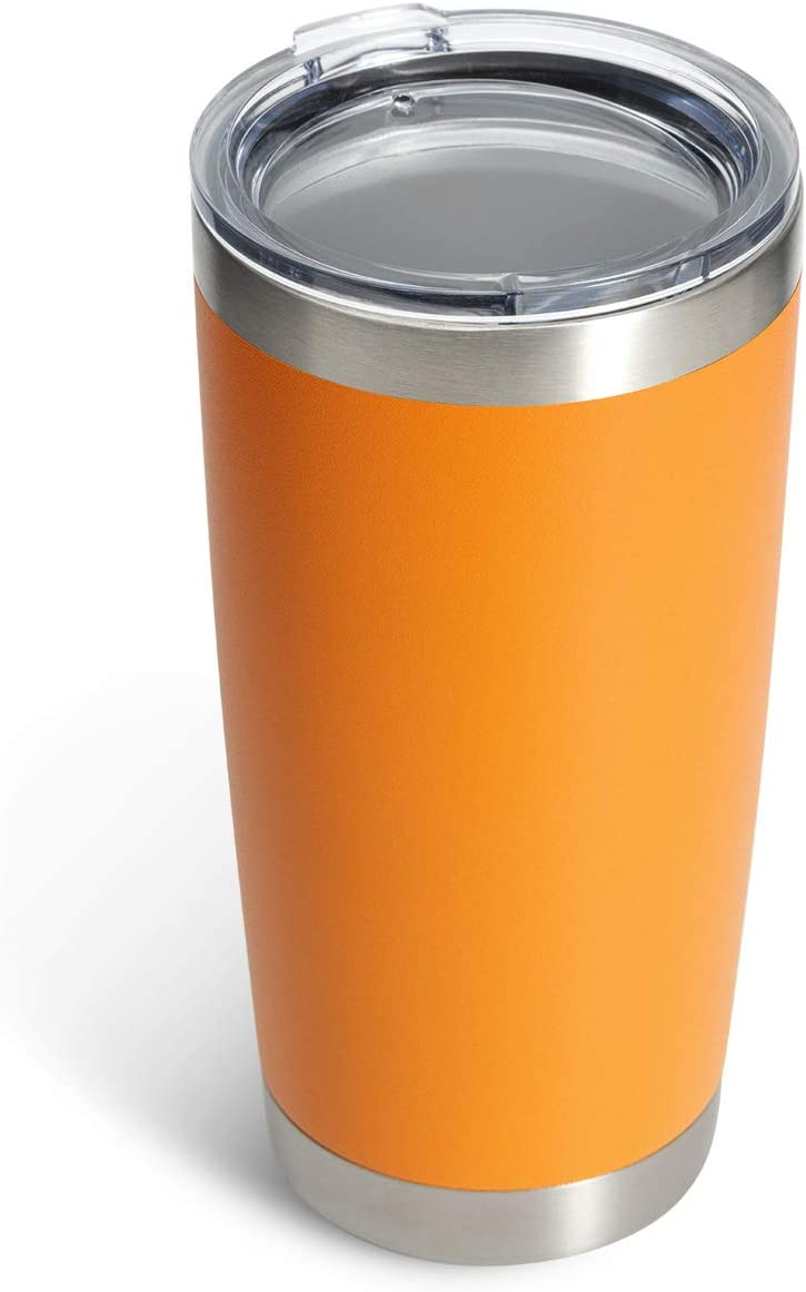 COYOAL 20 oz Stainless Steel Tumbler with Lid, Reusable Metal Coffee Tumbler, Double Wall Vacuum Insulated Tumbler Drink Cup, Blank Travel Coffee Mug, orange